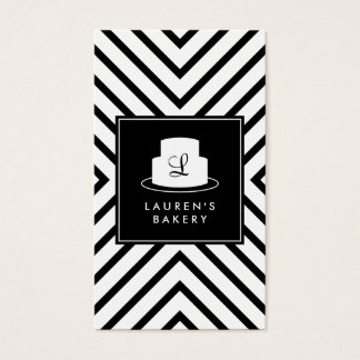 Cake Monogram Logo with Mod Stripe Pattern Bakery Business Card