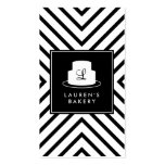 Cake Monogram Logo with Mod Stripe Pattern Bakery Double-Sided Standard Business Cards (Pack Of 100)