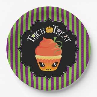 Cake-O-Lantern Trick-Or-Treat Halloween Plates 9 Inch Paper Plate