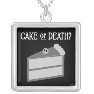 Cake or Death? Square Pendant Necklace