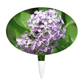 cake pick with photo of beautiful purple lilacs