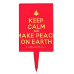 [Xmas tree] keep calm and make peace on earth  Cake Picks