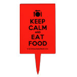 [Cutlery and plate] keep calm and eat food  Cake Picks