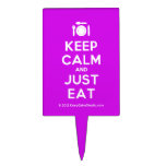 [Cutlery and plate] keep calm and just eat  Cake Picks