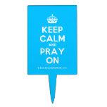 [Crown] keep calm and pray on  Cake Picks