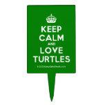 [Crown] keep calm and love turtles  Cake Picks