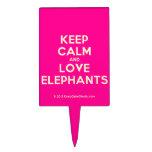 keep calm and love elephants  Cake Picks