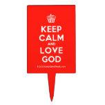 [Cupcake] keep calm and love god  Cake Picks