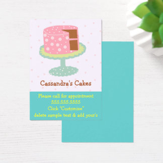 Cake Pink and Green Chocolate Business Card
