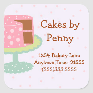 Cake-Pink and Green-Square Sticker