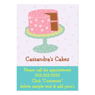 Cake-Pink & Green Large Business Cards (Pack Of 100)