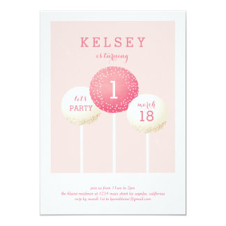 Cake Pop Birthday Invitations