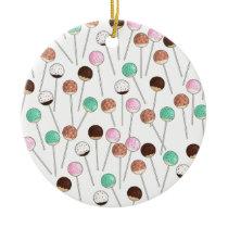 Cake Pop Design Ceramic Ornament