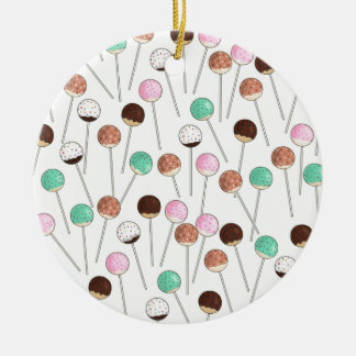 Cake Pop Design Ceramic Ornament