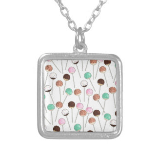 Cake Pop Design Silver Plated Necklace