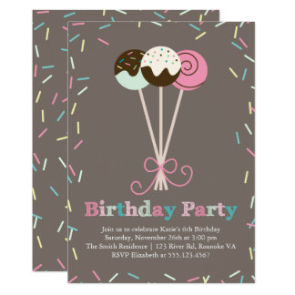 Cake Pops and Sprinkles Birthday Party Card