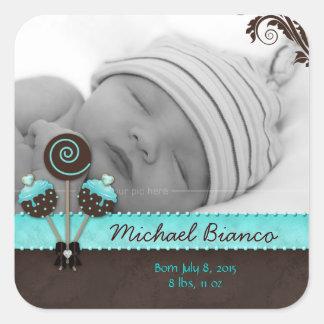 Cake Pops Baby Boy Sticker Blue Brown Candy 2