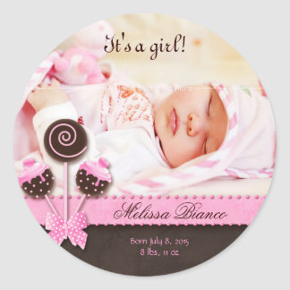 Cake Pops Baby Girl Sticker Pink Brown Candy