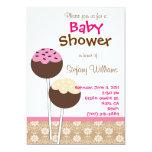 "Cake Pops Baby Shower Invitation 5"" X 7"" Invitation Card"
