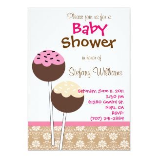 Cake Pops Baby Shower Invitation