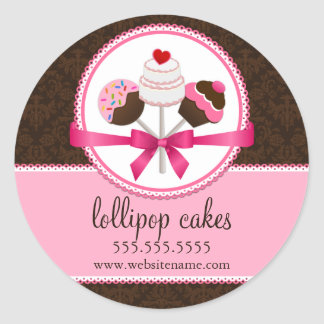Cake Pops Bakery Box Seals Classic Round Sticker