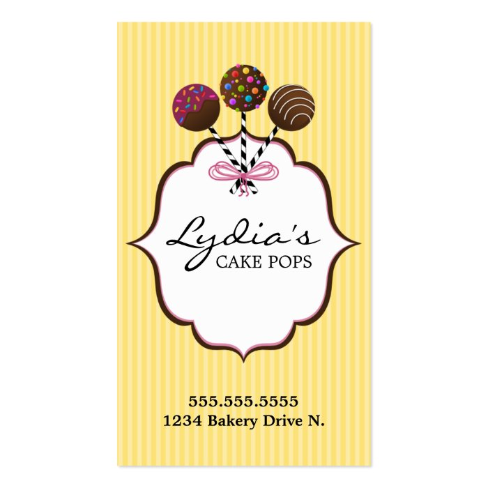 Cake Pops Bakery Business Cards