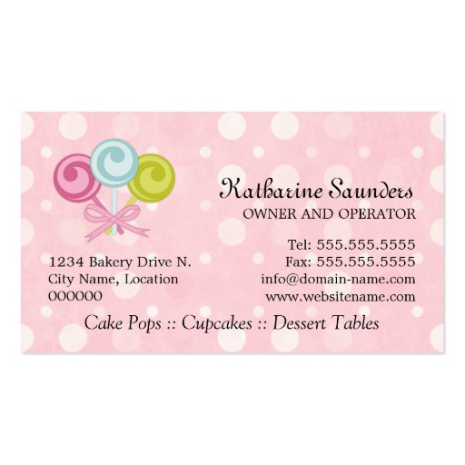 Cake Pops Bakery Business Cards (back side)