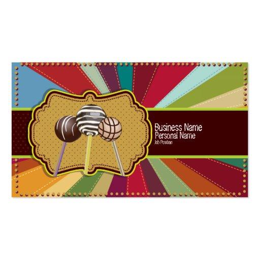 Cake Pops Bakery Retro Pop Art Business Card (front side)