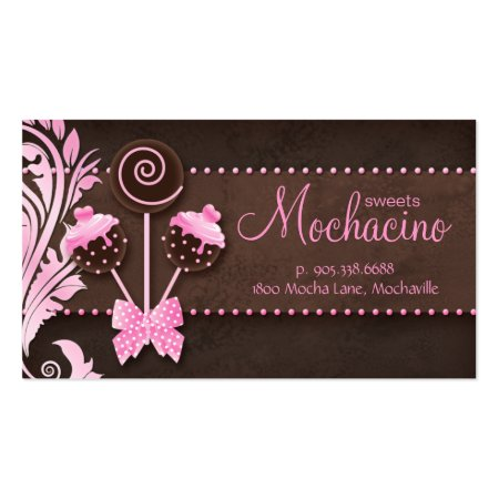 Divine Mochacino Cake Pops Dark Chocolate Brown and Pink Business Cards