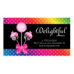 Cake Pops Business Card Bakery Zebra Retro Rainbow