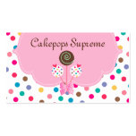 Cake Pops Business Card Polka Dots Pink Mint