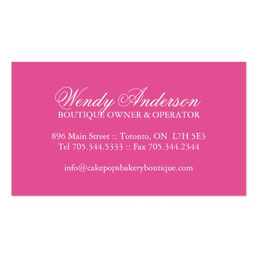 Cake Pops Business Cards (back side)