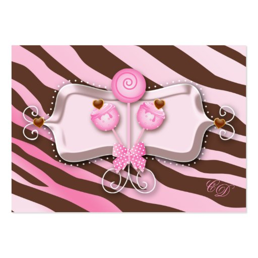 Cake Pops Gift Certificate Zebra Pink Brown Retro Business Card