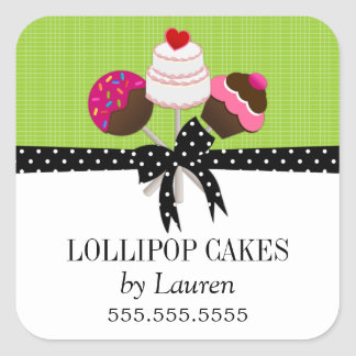 Cake Pops Green Stickers