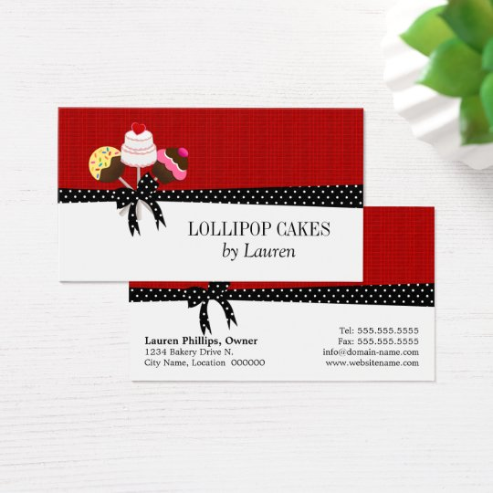 Cake Pops Red Business Card