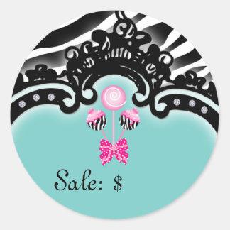 Cake Pops Sticker Price Tag Sale Zebra Blue Pink