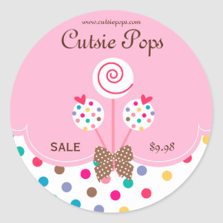 Cake Pops Stickers Bakery Cute Dots Pink White
