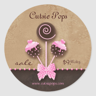 Cake Pops Stickers Bakery Vintage Pink Caramel