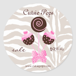 Cake Pops Stickers Bakery Zebra Pink Brown Candy