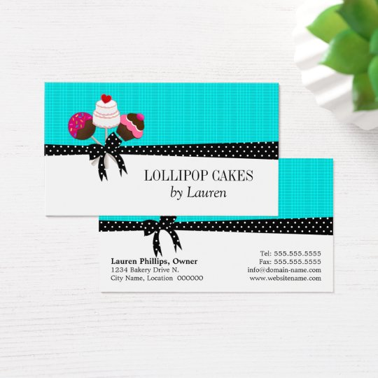 Cake Pops Turquoise Business Card