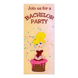 Cake & Pretty Girl Bachelor Party Card