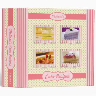 Cake Recipes Pink Green Cream Polka Dots Stripes Binder