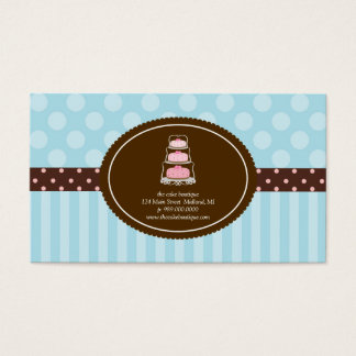 Cake Shop Blue Polka Dot Stripes Business Cards