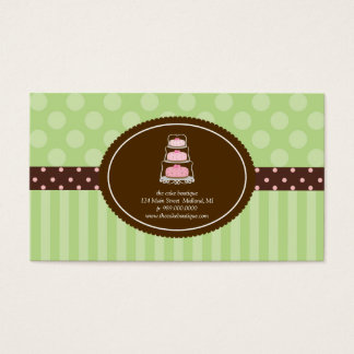 Cake Shop Lime Polka Dot Stripes Business Cards