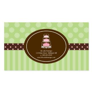 Cake Shop Lime Polka Dot Stripes Business Cards