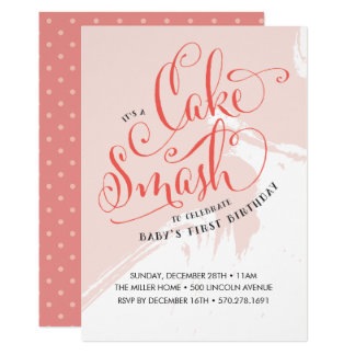 Cake Smash Birthday Invitation, Girl Card