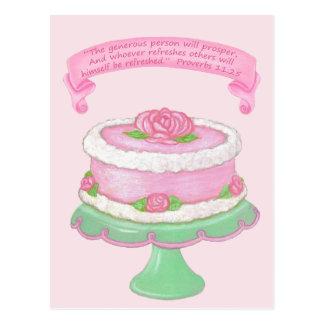 Cake Stand ~ Generous Prosper Scripture Postcard