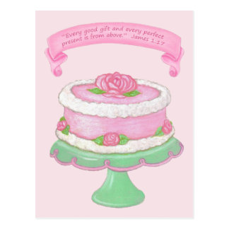 Cake Stand~Good Gift Scripture Postcard