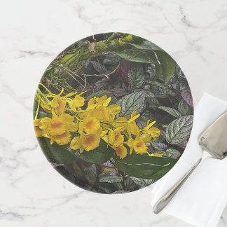 """CAKE STAND WITH """"SPRAY"""" OF YELLOW FLOWERS"""