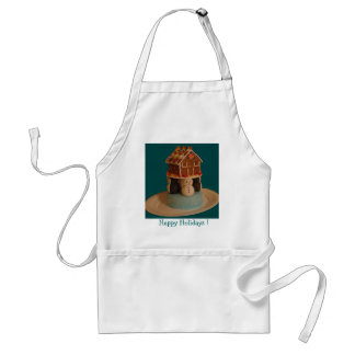Cake Topped W/Gingerbread House Adult Apron